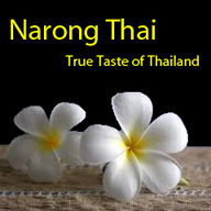 Logo of the Narong Thai Restaurant and Takeaway in Basingstoke, Hampshire, Thai flower image.